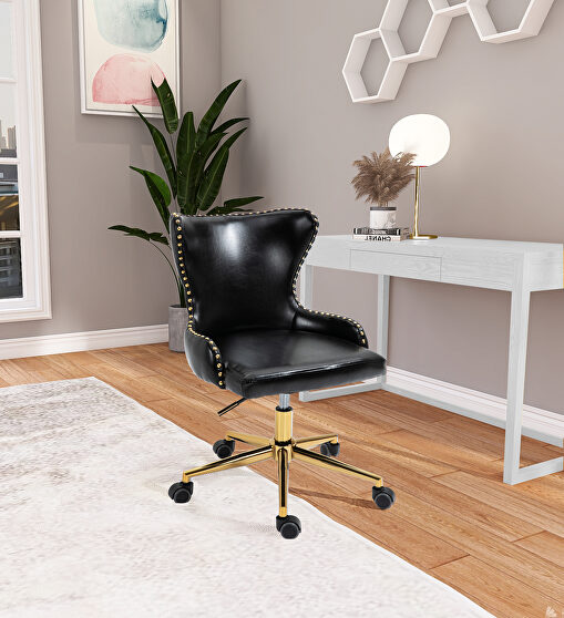Faux leather office chair w/ golden base