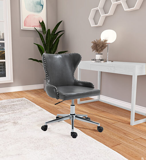 Faux leather office chair w/ silver base