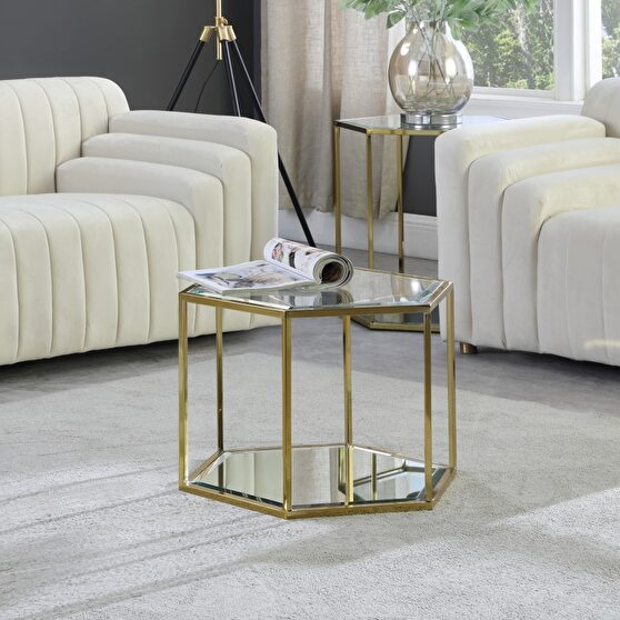Glam style coffee table set in hexagon shape