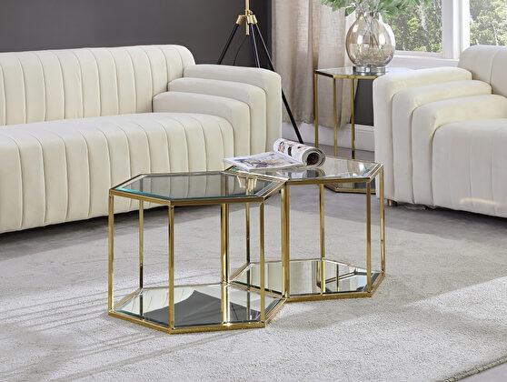 2pcs coffee table set in hexagon shape