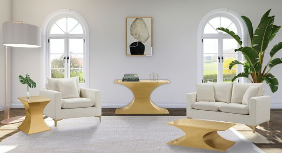 Gold metal contemporary glam style coffee table