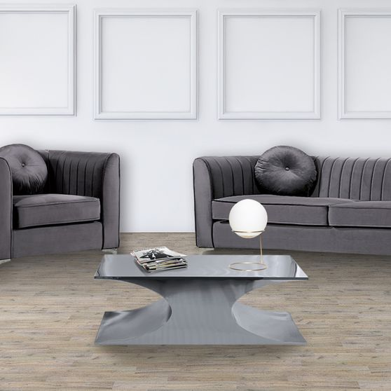 Chrome metal contemporary glam style coffee table