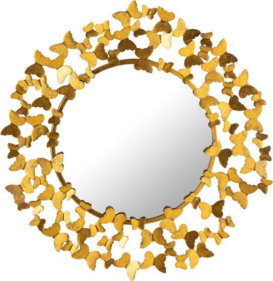 Metal contemporary butterflies design round mirror