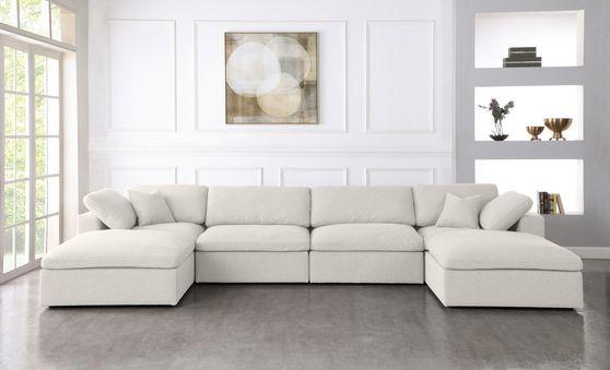 Modular design 6pcs sectional sofa in cream fabric