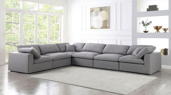 Modular design 6pcs sectional sofa in gray fabric