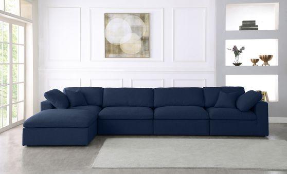 Modular design 5pcs sectional sofa in navy fabric