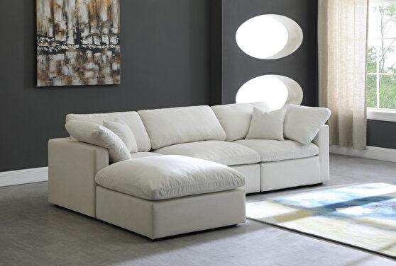 Modular 4 pcs sectional in cream velvet fabric