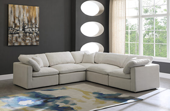 Modular 5 pcs sectional in cream velvet fabric
