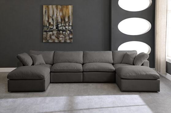 Modular 6 pcs sectional in gray velvet fabric