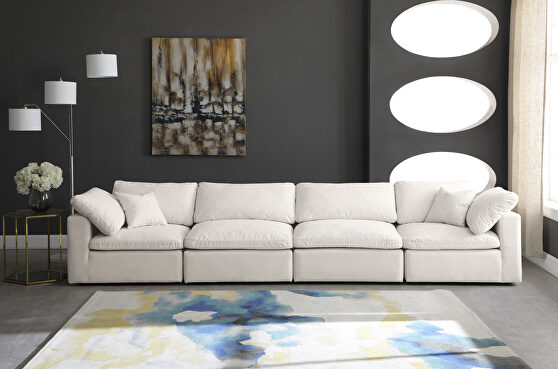 Modular 4pcs contemporary velvet couch