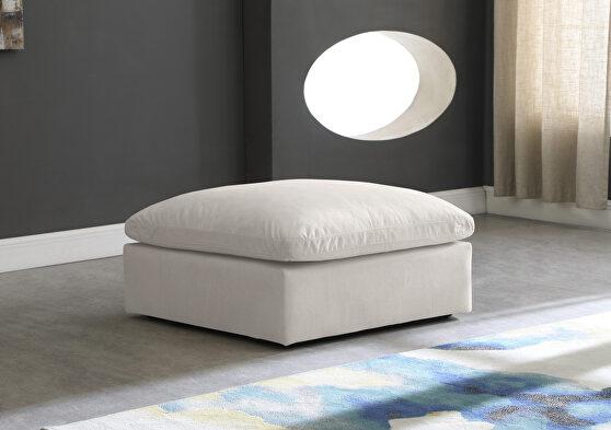 Modular contemporary velvet cream ottoman