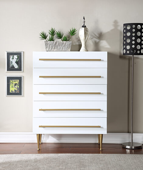 Contemporary chest in white w/ golden handles