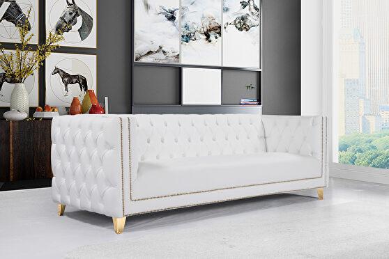 Black faux leather / gold nailheads stylish sofa