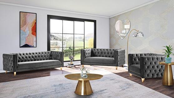 Gray velvet / gold nailheads stylish sofa
