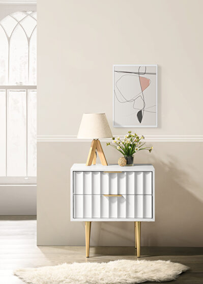 White stylish night stand w/ golden handles and legs