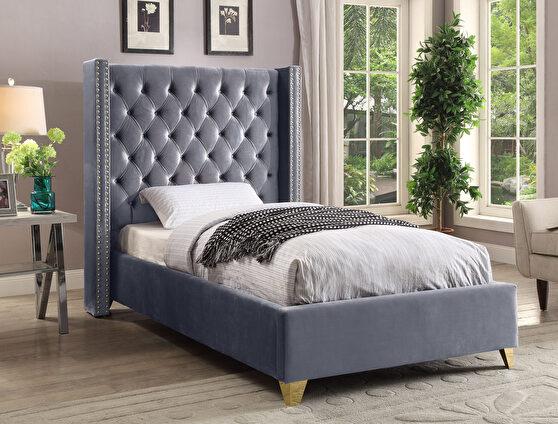 Modern gold legs / nailheads gray velvet twin bed