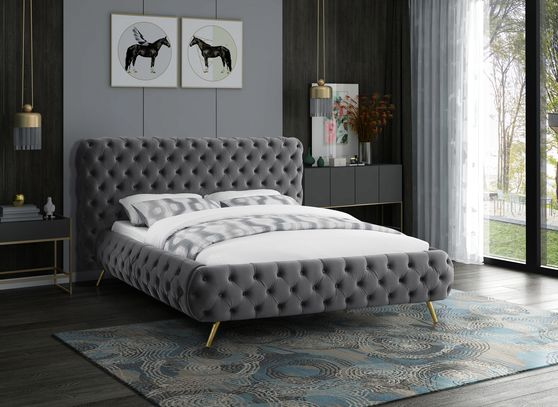 Gray tufted uplholstered contemporary bed