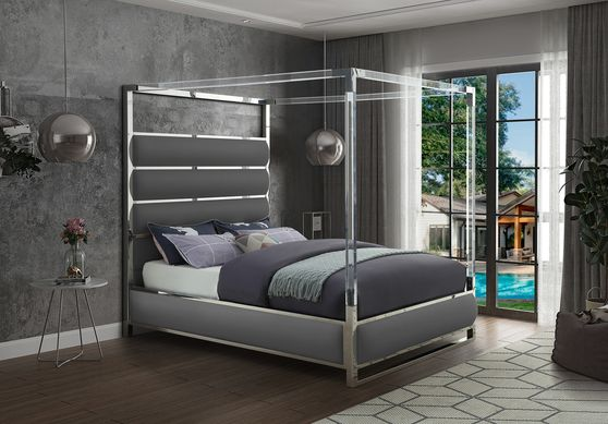 Faux leather / chrome platform canopy bed