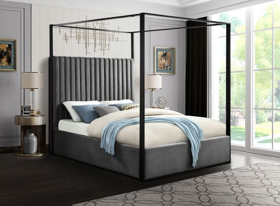 Contemporary velvet canopy queen bed in gray