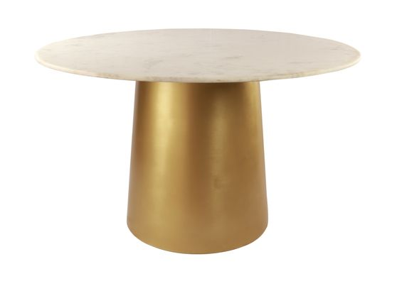 Brushed gold round dining table