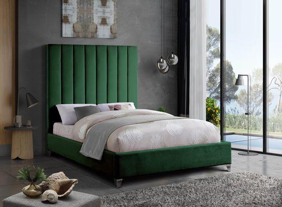 Modern green velvet platform king bed