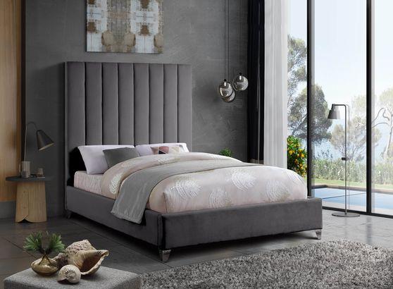 Modern gray velvet platform full bed