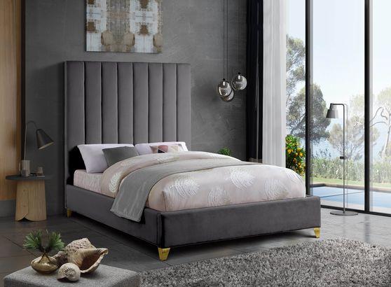 Modern gray velvet platform bed