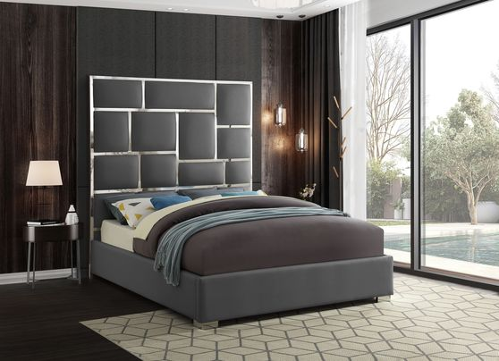 Chrome metal / gray leather designer queen bed