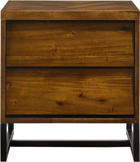 Mid-century industrial style coffee wood night stand
