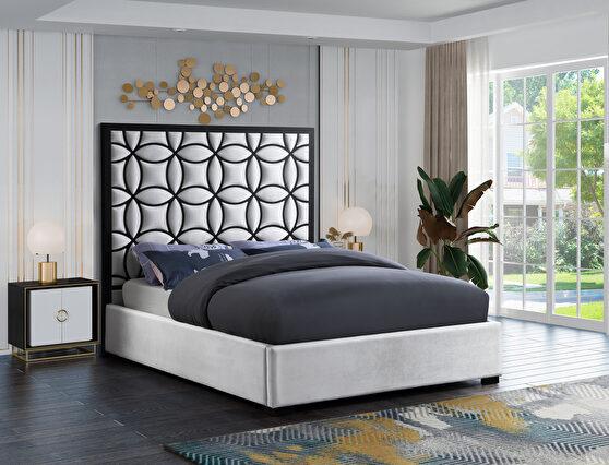 White velvet / black steel frame modern bed