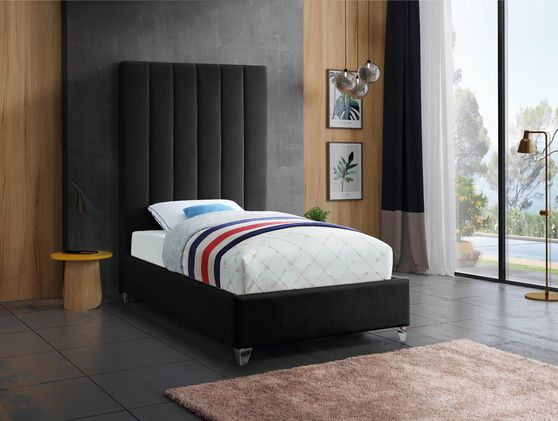 Modern black velvet platform twin bed