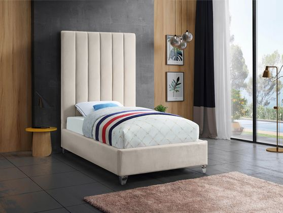 Modern cream velvet platform twin bed