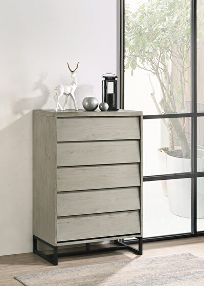 Industrial gray stone mid-century style chest