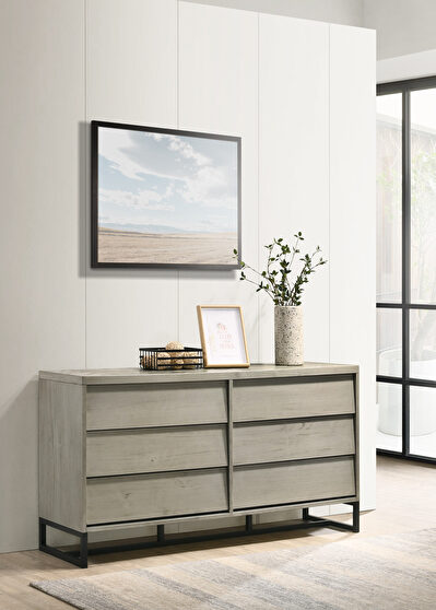 Industrial gray stone mid-century style dresser