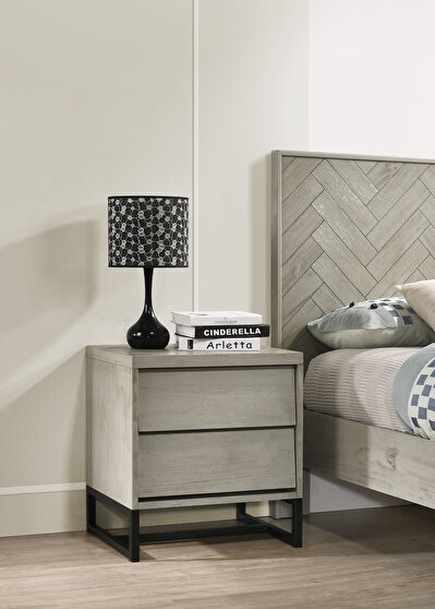 Industrial gray stone mid-century style night stand