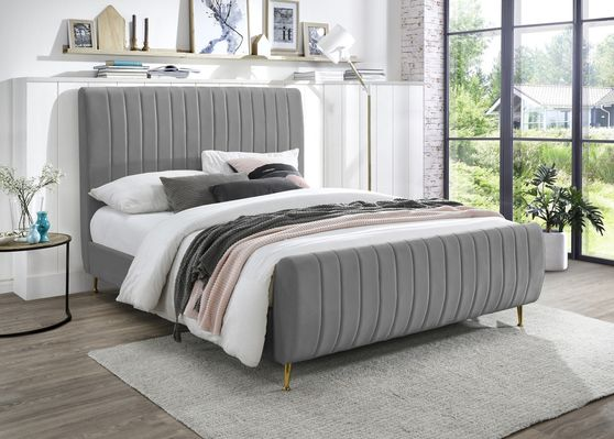 Contemporary gray velvet bed w/ channel tufting