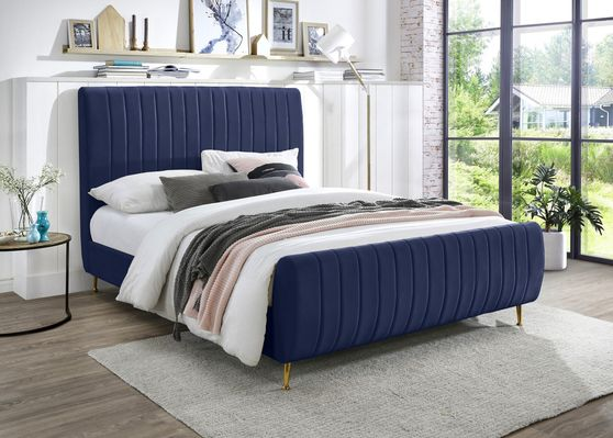 Contemporary navy velvet bed w/ channel tufting