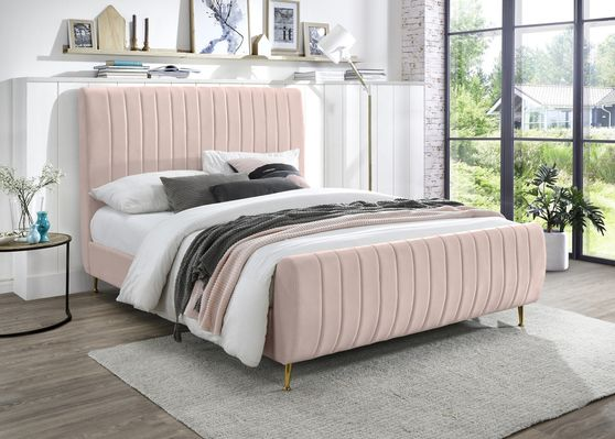 Contemporary pink velvet bed w/ channel tufting