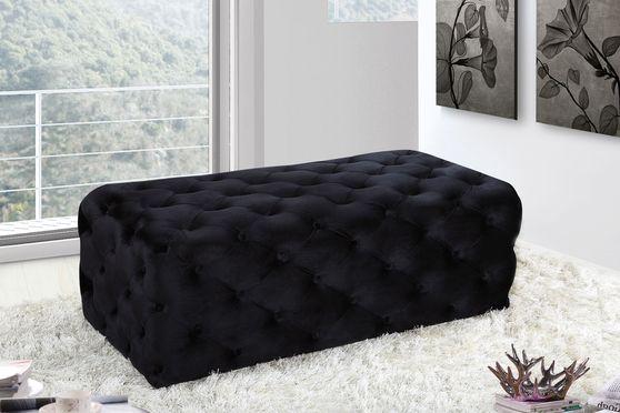 Velvet fabric tufted ottoman