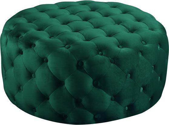 Green velvet round tufted ottoman