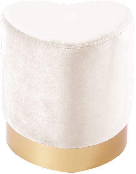 Cream velvet heart shape ottoman w/ gold base