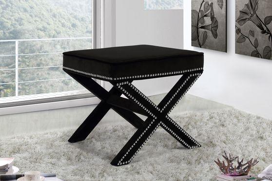 Black velvet ottoman / bench