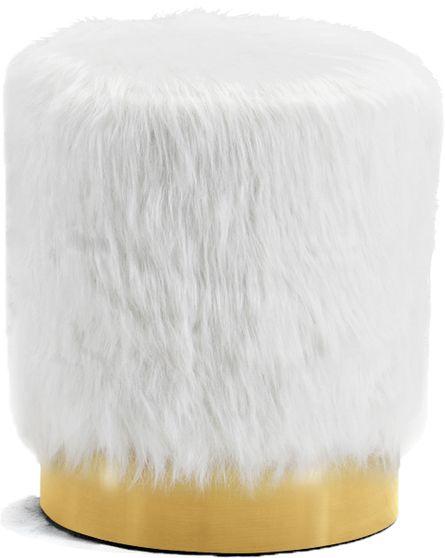Fur round ottoman in white w/ golden base