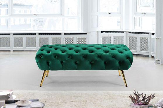 Green velvet / golden legs bench / ottoman