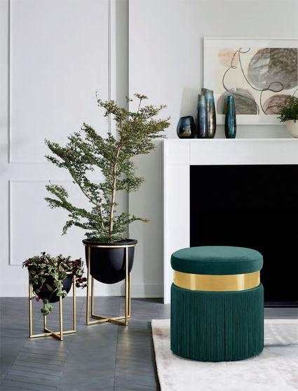 Green velvet contemporary ottoman w/ gold stripe