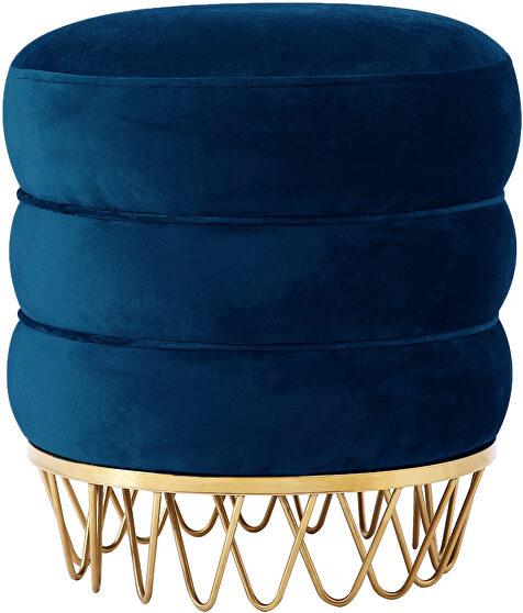 Round ottoman / coffee table in navy velvet