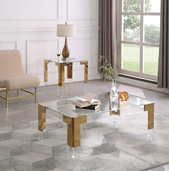 Gold / glass glam style rectangular coffee table