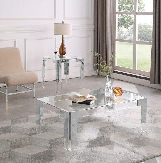 Silver / glass glam style rectangular coffee table