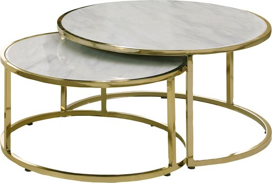 2pcs nested coffee table set w/ gold and faux marble