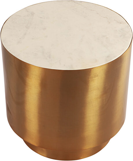 Gold round end table w/ marble top
